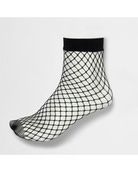 River Island - Wide Fishnet Ankle Socks - Lyst