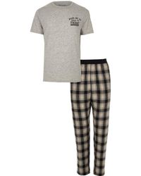 River Island | Grey 'wake Me Up' Print Check Pyjama Set Grey 'wake Me Up' Print Check Pyjama Set | Lyst