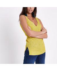 River Island - Yellow Metallic Stitch Knit Vest - Lyst