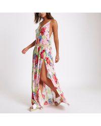 River Island - Pink Crochet Tropical Print Maxi Beach Dress - Lyst
