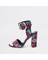 River Island - Floral Print Block Heel Sandals - Lyst