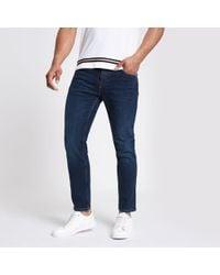 River Island - Dark Slim Tapered Jeans - Lyst