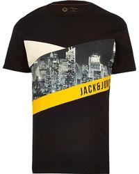 4d7e295b54f6 Lyst - River Island Dark Red Jack & Jones Print Crew Neck T-shirt ...