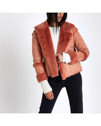 River Island - Pink Faux Shearling Jacket - Lyst