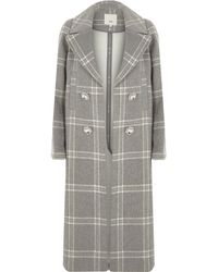 River Island - Light Grey Check Brooch Double Breasted Coat - Lyst