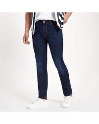 bf6fd95cfd8a5f Lyst - River Island Big And Tall Dark Blue Seth Slim Fit Jeans in ...