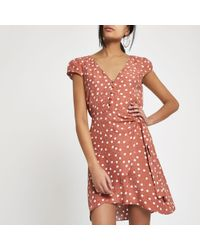 River Island - Brown Polka Dot Cap Sleeve Wrap Dress - Lyst