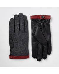 River Island - Mixed Fabric Driving Gloves - Lyst