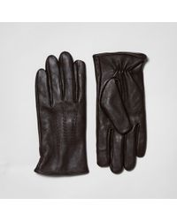 River Island - Brown Leather Gloves - Lyst