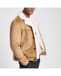 River Island - Brown Suede Button Front Shearling Jacket - Lyst