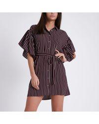 River Island | Dark Red Stripe Cold Shoulder Shirt Dress Dark Red Stripe Cold Shoulder Shirt Dress | Lyst