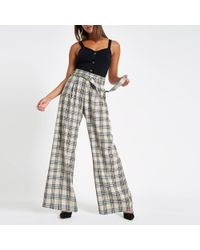 River Island - Check Wide Leg Belted Trousers - Lyst