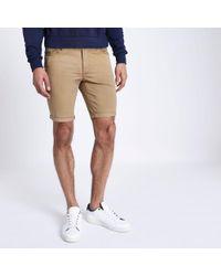 River Island - Tan Slim Fit Bermuda Shorts - Lyst