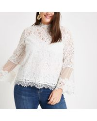 River Island - Plus White Lace Long Sleeve Blouse - Lyst