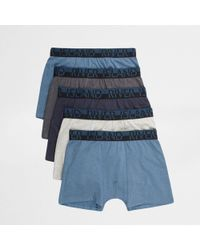 River Island - Blue Ri Branded Trunks Multipack - Lyst