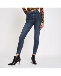 River Island - Mid Kaia High Waisted Skinny Disco Jeans - Lyst