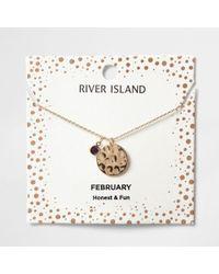 River Island - Purple Gem February Birthstone Necklace - Lyst