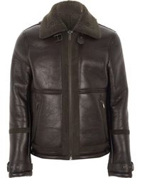 River Island | Dark Brown Faux Shearling Aviator Jacket | Lyst