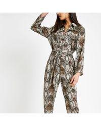 River Island - Brown Snake Print Jumpsuit - Lyst