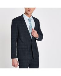 River Island - Check Skinny Suit Jacket - Lyst