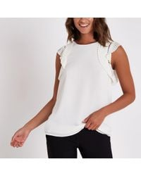 River Island - Pleated Shoulder Top - Lyst