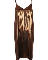 River Island   Bronze Midi Slip Dress   Lyst