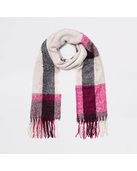 River Island - And Pink Check Scarf - Lyst