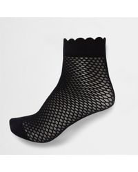 River Island - Black Scallop Edge Ankle Socks - Lyst