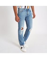 a29521ee River Island - Light Blue Bobby Ripped Standard Jeans - Lyst