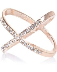 River Island - Rose Gold Tone Rhinestone Kiss Ring - Lyst