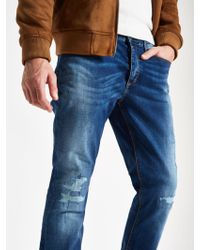River Island - Dark Blue Dylan Ripped Slim Fit Jeans - Lyst