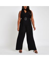 River Island - Plus Black Rhinestone Belted Wide Leg Jumpsuit - Lyst