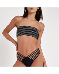 808b9f8bb5d25 River Island Blue Sequin 'work It' High Neck Bikini Top in Blue - Lyst