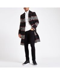 River Island - Black And Red Brushed Check Wool Overcoat - Lyst