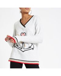 River Island - V Neck Anchor Knit Sweater - Lyst