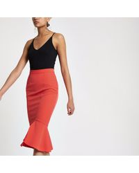 River Island - Peplum Hem Pencil Skirt - Lyst