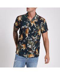 River Island - Navy Tape Tiger Print Revere Shirt - Lyst
