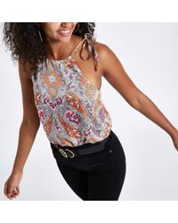 River Island - Paisley Halter Neck Cami Top - Lyst