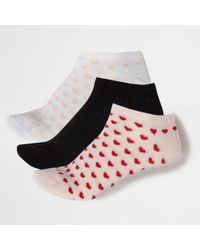 River Island - Pink Heart Trainers Socks Multipack - Lyst