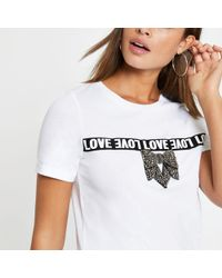 River Island - Bow Embellished T-shirt - Lyst