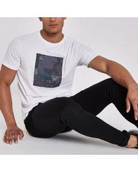River Island - White Patchwork Print Slim Fit T-shirt - Lyst