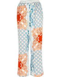 River Island - Blue Floral Print Pyjama Trousers - Lyst