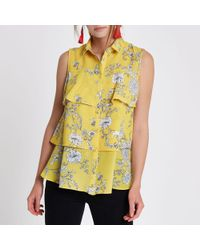 River Island - Yellow Floral Layered Frill Sleeveless Shirt - Lyst