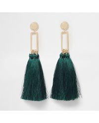 River Island - Green Square Tassel Drop Earrings - Lyst