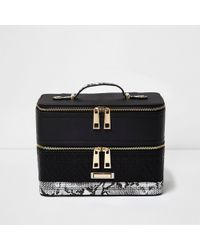 River Island - Black Quilted Snake Print Panel Vanity Case - Lyst
