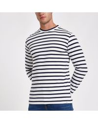 River Island - Minimum Navy Stripe Long Sleeve Top - Lyst