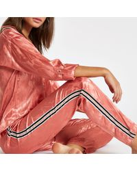 River Island - Jacquard Tape Side Pyjama Trousers - Lyst