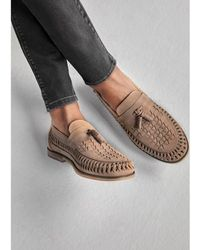 River Island - Stone Leather Woven Tassel Loafers - Lyst