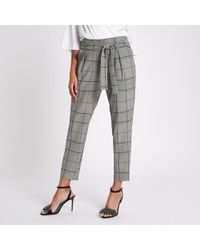 River Island - Check Tapered Pants - Lyst