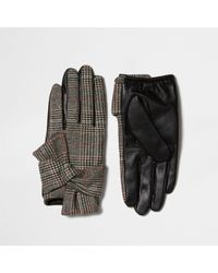 River Island - Black Heritage Check Faux Leather Gloves - Lyst